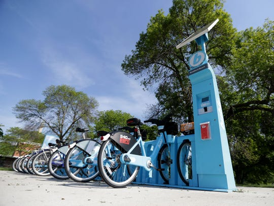 Bublr bikes line a station near North Point Park on