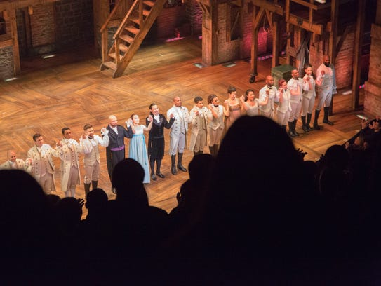The cast of Hamilton during curtain call at The Richard