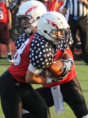 Milford running back Dawson Slone, shown in an earlier game, provided the offensive highlights for the Eagles against Loveland.