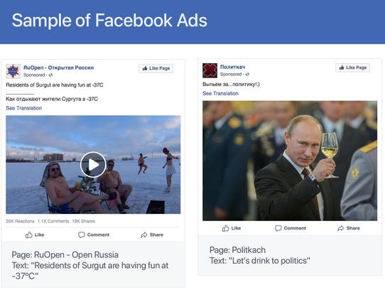Samples of advertisements posted on Facebook by Russian
