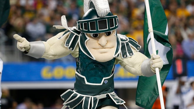Michigan State Spartans mascot Sparty during the game against the Baylor Bears in the 2015 Cotton Bowl Classic at AT&T Stadium.