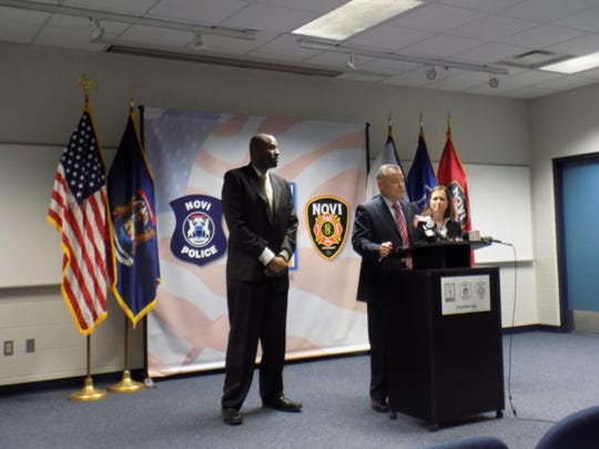 Marlon Miller (from left) with Homeland Security Investigations, Novi Police Chief David Molloy and U.S. Attorney Barbara McQuade address members of the media Friday morning to announce the arrest of a Novi restaurant owner.