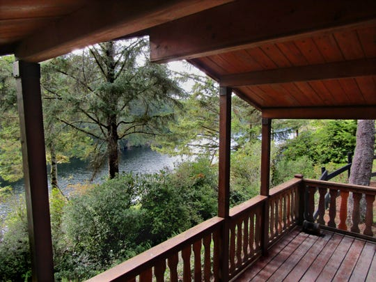 Lake Marie is seen from a rental cabin in Umpqua Lighthouse State Park.