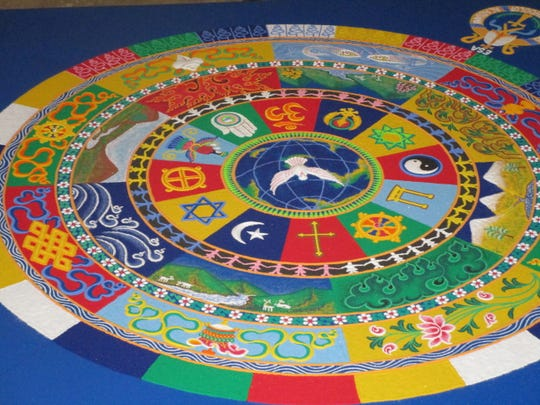 The Sand Mandala, a Tibetan Buddhist artistic tradition made from colored sand, is ritualistically destroyed once it has been completed. Ceremonies and viewing symbolize the Buddhist doctrinal belief in the transitory nature of material life.