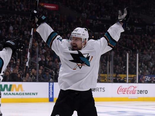 Sharks wing Joonas Donskoi celebrates one of his two