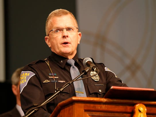 Supt. Doug Carter of the Indiana State Police addresses