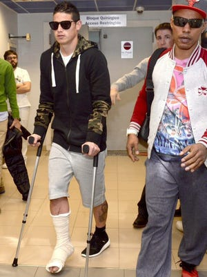 Real Madrid's midfielder James Rodriguez arrives at Hospital Quiron, where he is going to be operated by doctor Mariano de Prado for a fracture of the right foot's fifth metatarsal.