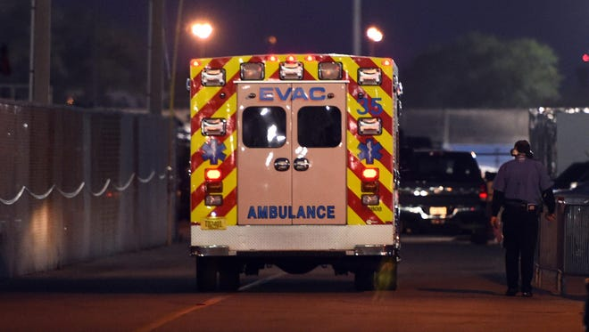 Kyle Busch was taken by ambulance to a local hospital after a hard crash in Saturday's Xfinity Series race at Daytona International Speedway.