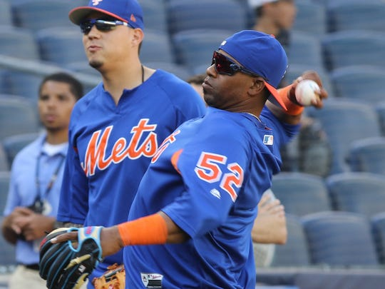 Wilmer Flores, left, and Yoenis Cespedes prior to the Mets Subway Series game against the Yankees at Yankee Stadium on Friday, July 20, 2018. Cespedes is making his return to the Mets after being on the DL since May 13.