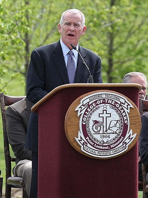 Retired LtCol. Oliver North speaks during the Vietnam War Memorial Wall dedication at College of the Ozarks on April 22, 2015.
