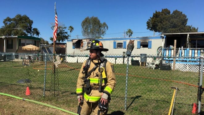 A mobile home in west Cocoa was heavily damaged by fire on Tuesday.