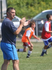 John Jay High School soccer coach Rob Seipp during practice on Wednesday.