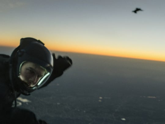 """Tom Cruise performing his HALO jump in """"Mission: Impossible"""