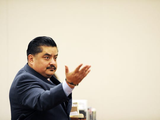 Defense attorney Jaime Segall-Gutierrez motions for Jose Castañeda to approach the bench in Monterey County Superior Court on Thursday, April 20th.