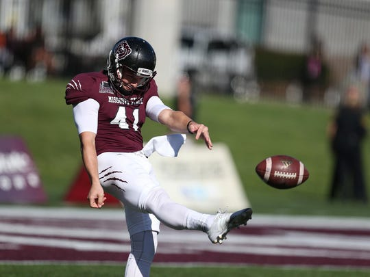 Senior Chris Sullens surpassed the Missouri State record for career punting yards in last week's game at Memphis.