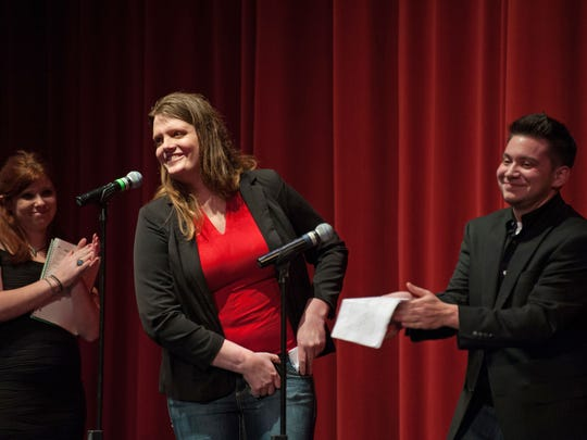 "The Missoula-based Gender Expansion Project was the beneficiary of proceeds from a Feb. 13 production of ""Vagina* Monologues: An All-Bodied, All-Gendered Adaptation"" at the University of Montana. Bree Sutherland, Gender Expansion Project's director, pictured at center, was joined on stage by Shayna Chupein, the project's program director, and Marcus Ordane, a programs intern. Sutherland is a transgender woman, and Ordane is a transgender man."