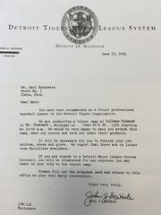 The letter the Detroit Tigers sent to Earl Robinette in 1954, inviting him to try out.