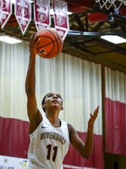 Riverdale's Aislynn Hayes goes up for a layup during Friday's contest.