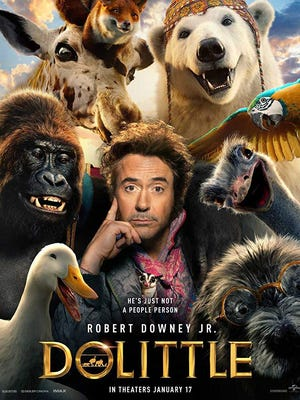 Poster art for 'Dolittle,' starring Robert Downey Jr. and a star-studded cast.