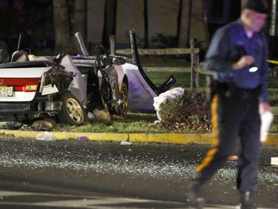 Nikki Kellenyi's car after the crash that took her