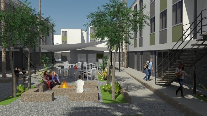 Latitude 33 Apartments Courtyard rendering