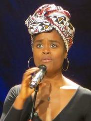 Denee Benton sings during the closing ceremony of BroadwayCon