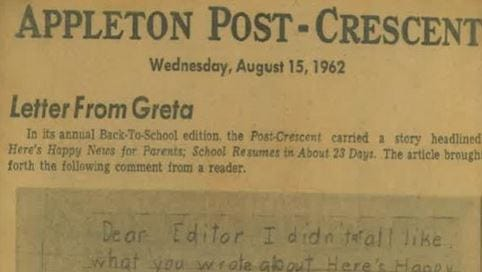 This screen capture shows a Post-Crescent clipping of a letter from Fox News personality Greta Van Susteren. She Tweeted out the image and mentioned it on her program.