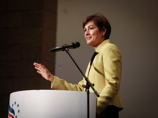 Iowa Gov. Kim Reynolds speaks during the Faith and Freedom Coalition Saturday, May 12, 2018, at Walnut Creek Church in Windsor Heights.