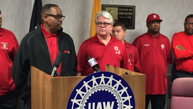 UAW Vice President Jimmy Settles and UAW Local President Bernie Ricke lead a news conference Wednesday discussing a proposed Ford contract.