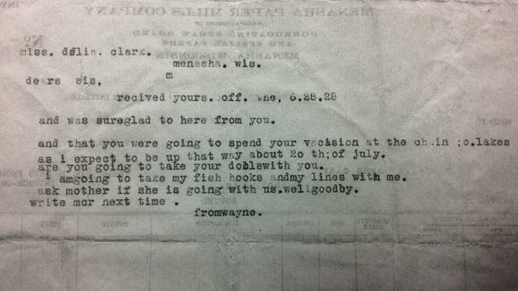 Wayne Clark was 10 when he typed this letter to his sister, Delia, in 1928.