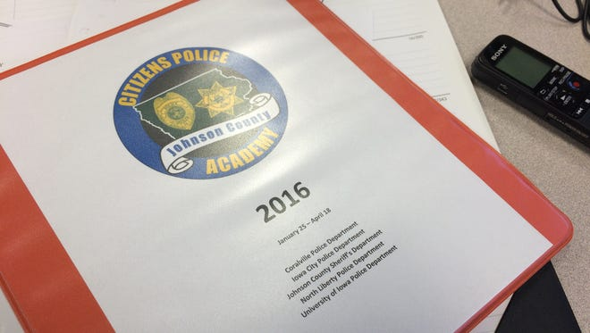 The author's notebook is shown after the first session of the Johnson County Citizen's Police Academy on Monday.