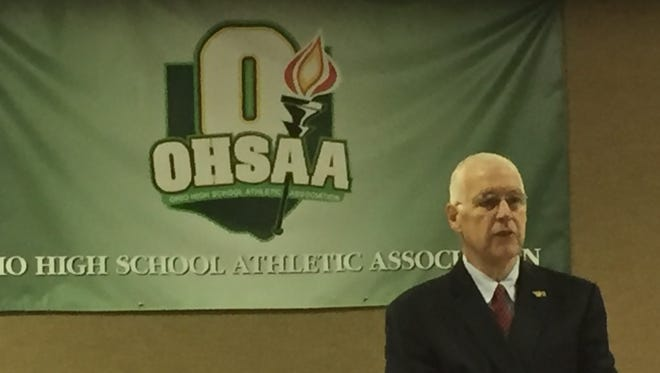 Ohio High School Athletic Association Commissioner Dan Ross speaks to reporters Tuesday during the annual Ohio Prep Sportswriters Association meeting at OHSAA headquarters in Columbus.