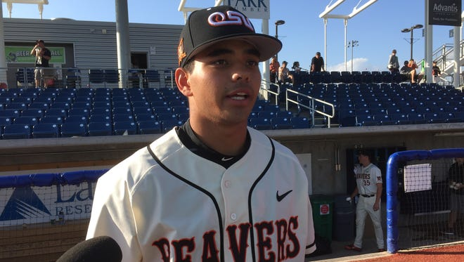 Oregon State outfielder Christian Donahue is third in the Pac-12 in hitting with a .376 average.