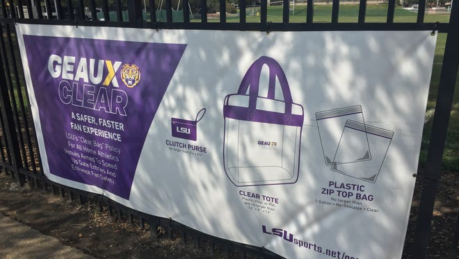 "LSU advertises its new ""Geaux Clear,"" clear bag policy, with informational signs around campus."