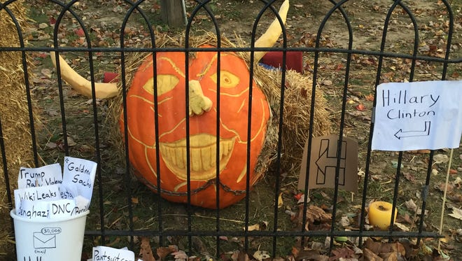 The Hillary in Jail pumpkin from the 2016 Great Pumpkin Carve in Chadds Ford, Pennsylvania, was carved by  Andrew Vogts and Liam Jackson.