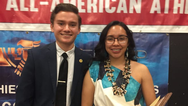 Carl Hayden cross-country runner Jose Cortes and Tuba City volleyball player Sophia Honahni were awarded $1,500 scholarships at the end of the Arizona Fall High School All-Americans banquet on Saturday.