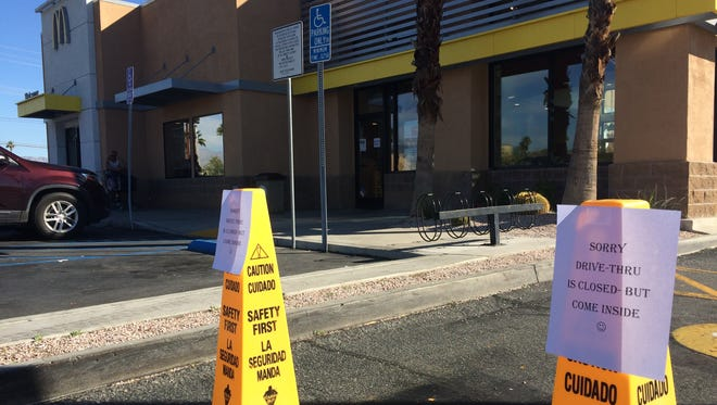 """A Palm Springs McDonald's restaurant closed its drive-thru because it was short-staffed Thursday. Employees were participating in the """"Day Without Immigrants"""" protest to show they benefit the economy."""