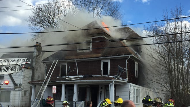 A fire damaged 1410 Tracy Street in Endicott on Wednesday, March 8, 2017.