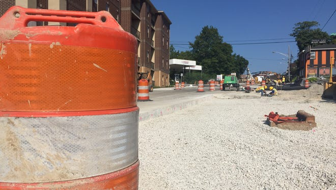 Work on State Street continues Thursday as crews race to complete the section leading to Purdue University in time for next week's move-in activity on campus.