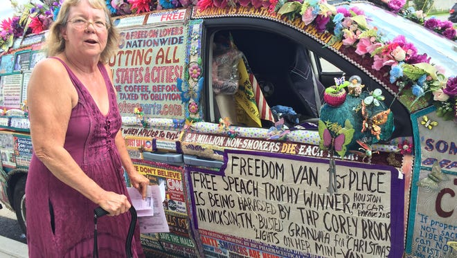 """Lynda Farley with her 'Freedom Van"""" in Downtown Dickson on Tuesday afternoon."""