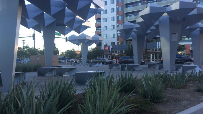 A camp of homeless people that popped up along rapidly growing Roosevelt Row in downtown Phoenix in December cleared out on Jan. 5, 2018, ahead of First Friday.
