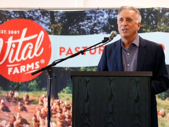 Vital Farms founder and CEO Matt O'Hayer speaks at a ribbon cutting for the Austin, Texas-based companies manufacturing plant on Wednesday, Oct. 18, 2017.