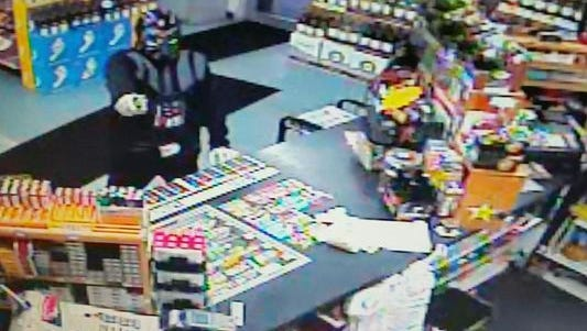 A man in a Darth Vader mask was arrested Sunday after trying to rob a convenience store in Florida.