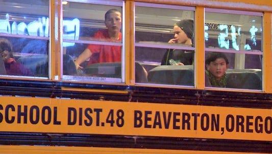 Students stuck on Beaverton school bus.