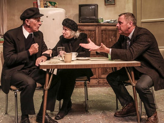 """Cecil Sutton (left) as Tony, Rosalee Calvillo as Aoife, and Ron Feltner as Anthony in the romantic Irish comedy """"Outside Mullingar"""" playing through May 28 at the Santa Paula Theater Center."""