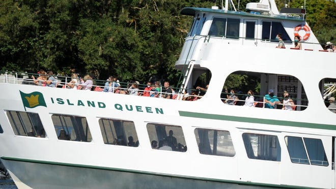 Three decks of Vineyard Bound visitors take in the sights as the Island Queen leaves Falmouth Harbor heading to Oak Bluffs.