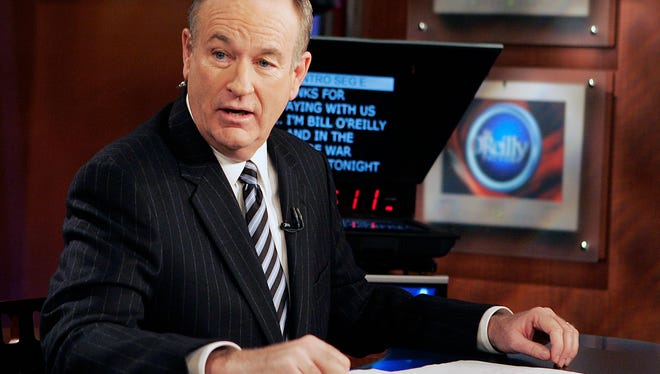 """Fox News commentator Bill O'Reilly appears on the Fox News show, """"The O'Reilly Factor,"""" in New York. O'Reilly has lost his job at Fox News Channel following reports that several women had been paid millions of dollars to keep quiet about harassment allegations. (AP Photo/Jeff Christensen, File)"""