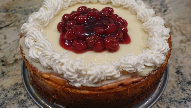 Cheery Cherry Cheesecake features cherry concentrate, chopped cherries and cherry pie filling.