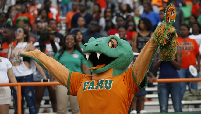 Venom the Rattler celebrates on the sidelines during FAMU's game against Tennessee State at Bragg Memorial Stadium.