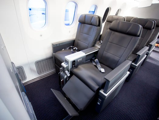 American Airlines' new premium economy cabin is seen